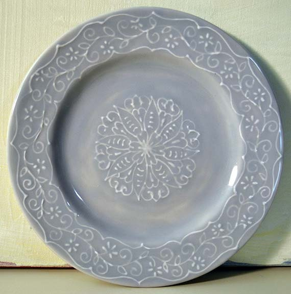 Gray Ceramic Plate with Delicate White Lace Embossed Original Hand Painted Design, Decorative and Functional