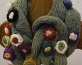 "Womens Green soft cotton ""Twisted flower bud"" scarf.warm light fashion accessory"