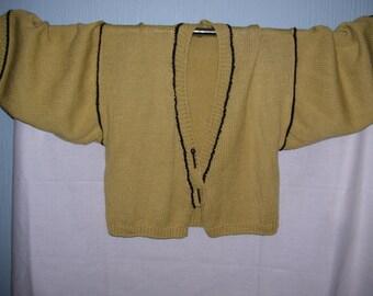 Lovely hand knitted mustard Kimono Cardigan in soft Merino yarn...