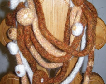 """Hand made Ginger nut scarf-hand knitted,felted,tangled,flowers,ginger,white,peach wool,women""""s,girls."""