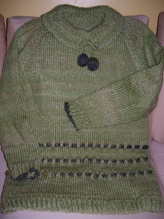 Womens  hand knitted Bunch of grapes sweater,soft green yarn,silky ribbon trim.,eyelet detail..40% off all items