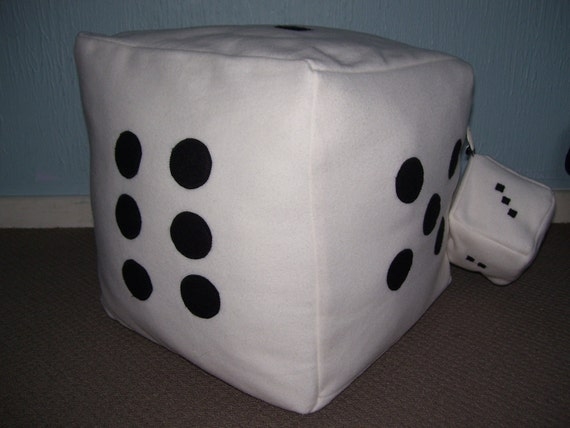 Hand made Pouf-Fleece Black & White Dice seat with baby dice...40% off all items