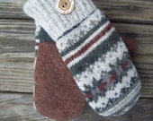 Earth-Toned Up-Cycled Sweater Mittens