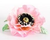 Hair accessory silk pink poppy. Summer flower hair clip. Head piece, brooch. Fabric flower hair clip 016. oht rusteam ukrteam