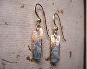 Item 7-japanese washi paper 14 karat gold earrings