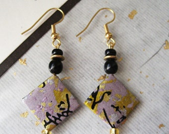 Item-18-japanese washi paper earrings by heavenly cranes jewelry