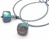 Silver hoop earrings, blue labradorite cube & sterling silver hoops, stormy blue silver hoop earings