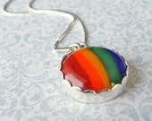 Rainbow cabochon necklace, multicolor roygbiv pendant sterling silver necklace red orange yellow green blue tt team jetteam