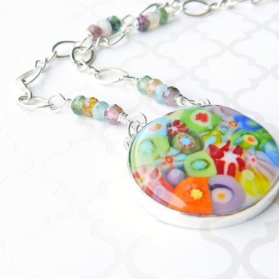 Multicolor rainbow millifiori glass & sterling silver necklace