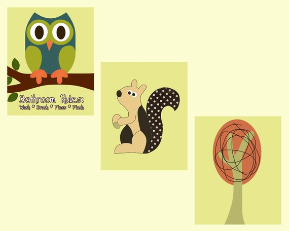 Set of 3 8x10 Woodland Owl Squirrel and Tree Prints Matches Target Home Vista Tree House Shower Curtain