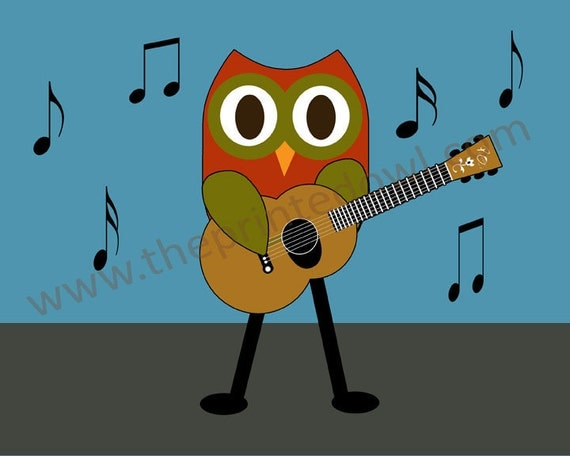 owl playing the guitar - photo #4