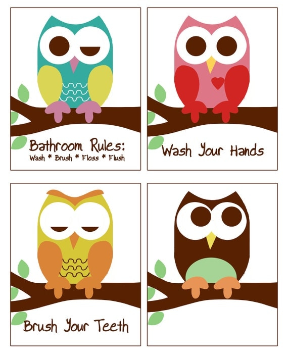 Owl Bathroom Decor Set Of 4 8x10 Prints Owl Bathroom Prints