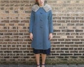50s Fur Collar Coat - Blue Australian Wool A-Line Vintage Fox MED