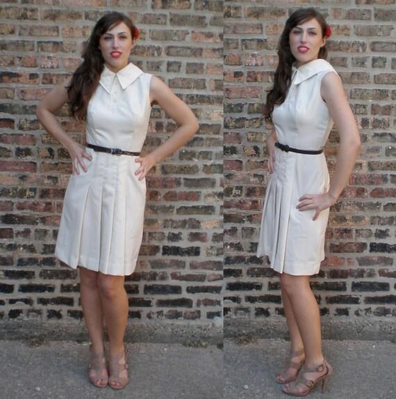 Vintage 60s Tennis Dress - Sleeveless Pleated Belted, Cream S/M