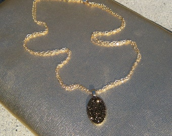 Golden/Brown/Olive Druzy Pendant with Double Layer Gold Chain Necklace
