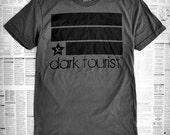 charcoal gray, gun metal, magnesium shirt tee, dark tourist // FLAGSHIP t shirt on nla dark gray // LARGE - Also available in S / M / XL