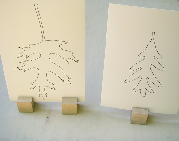 SALE Appreciation of a Leaf: Pair of Simple Ink Line Drawings on Buff Paper