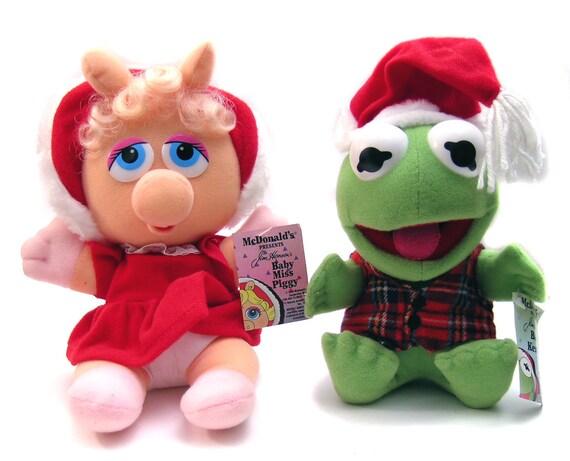 Vintage Kermit Miss Piggy Plush Dolls McDonalds Promo
