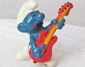 Smurf Rock & Roll Red Guitar Figure by Peyo