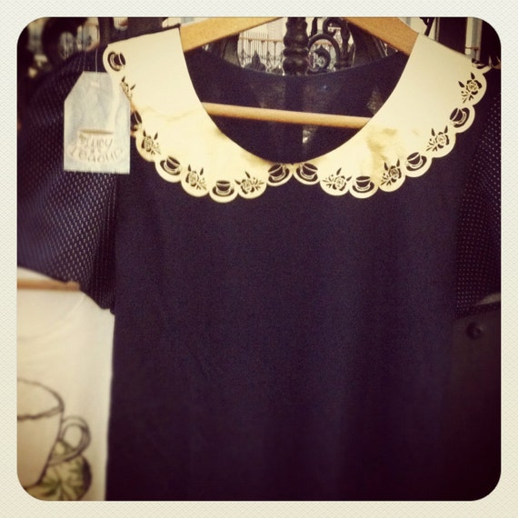 Navy T-Shirt with Gold Teacup Peter Pan Collar and Puffed Spotty Sleeves