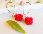 Adorable  Christmas Red Cabbage Rose earringsGold Plated French WiresSweet 16AdorableKidsWoman