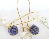 Adorable Purple Cabbage Rose earrings,Gold Plated French Wires,Sweet 16,Adorable,Kids,Woman-Great Gift-Holidays