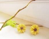 Yellow Sun flower Stud Earrings  Sun Flower Earring Post Great gift for the holiday  tasteofshabbychic