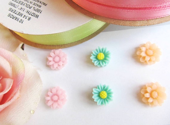 Flower Earrings Post, Set of Three 3 Pairs Adorable Mixed Colors