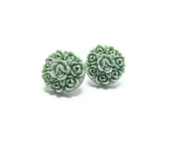 Grayish resin Floral Stud Earrings -Flower Earring Post- Great gift for the holiday