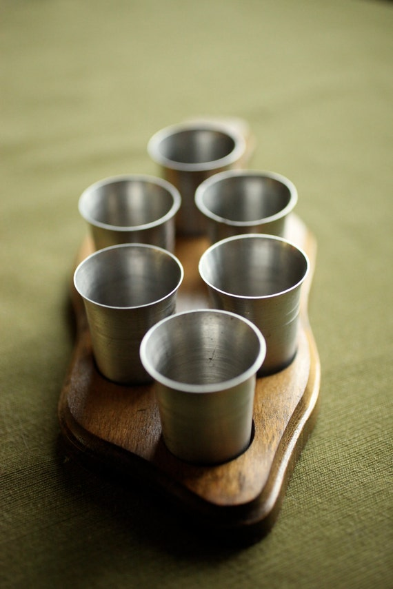 Rein Zinn Shot Pewter Shot Glasses with Wood Paddle Carrier