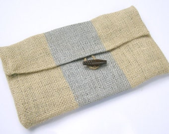 SALE- Burlap Clutch with Metallic Silver Stripes and Kelly Green Dotted Liner- FREE SHIPPING