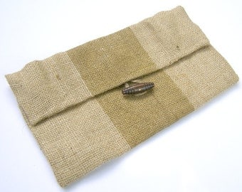 SALE- Burlap Clutch with Metallic Gold Stripes and Lime Green Houndstooth Liner- FREE SHIPPING