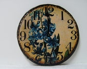 "Dollhouse Miniature Wall Clock ""Cottage Garden Blue"", Scale One Inch"