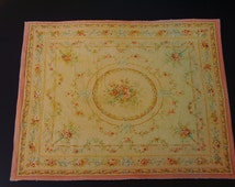 Dollhouse Miniature Beautiful Room Size Antique Aubusson Rug, One Inch Scale