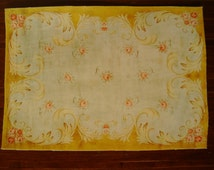 Dollhouse Miniature Romantic Shabby Chic Rose Rug, Scale One Inch