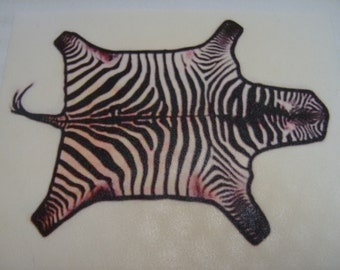 "Dollhouse Miniature Cutting Edge Design ""The Zebra Skin Rug"", Scale One Inch, TREASURY LIST"