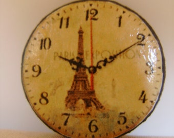 "Dollhouse Miniature Wall Clock ""Paris Exposition"", Half Inch Scale"