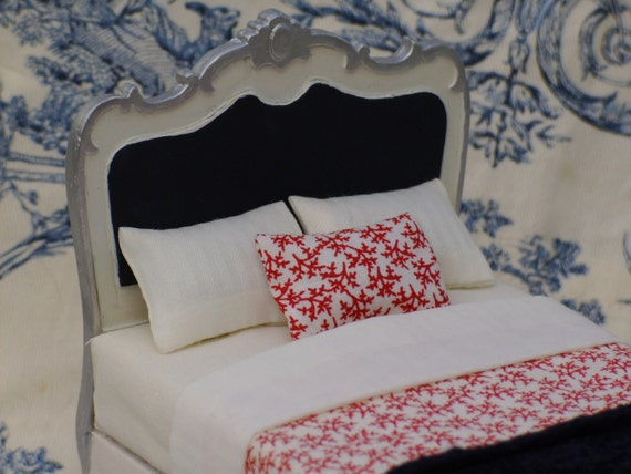 Dollhouse Miniature Italian Double Bed with Bedding Detail Treasury List