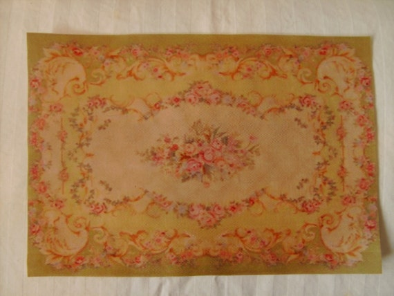 Dollhouse Miniature Antique Replica Celadon Green French Aubusson Rug, Scale One Inch