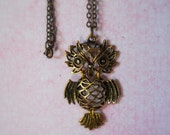 Antique Brass Owl Pendent Necklace Rustic Woodland Chain