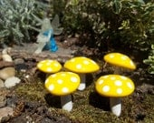 miniature set of 5 fairy garden mushrooms available colors red yellow navy blue green purple and more