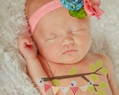Teal and Pink FUN newborn headband EASTER photo prop pageant Flower GIRL