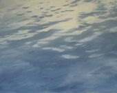 Original Oil Painting of Water on wood panel 24x48 inch wall art Canadian Fine Art Waterscape