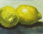 Lemon Still Life Painting Original Oil on canvas panel 5x7 inch