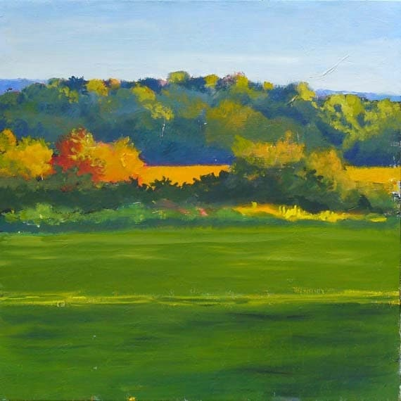 Landscape Painting, Original Oil on wood panel,  Green Field  18x18 inch  Fine Art