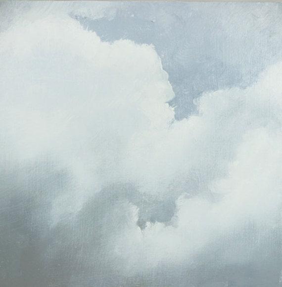 Cloud Painting, Original Oil on Wood Panel