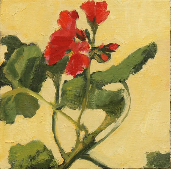 End of Summer SALE Geranium Still Life Painting Oil on wood panel wall art 8x8 inch