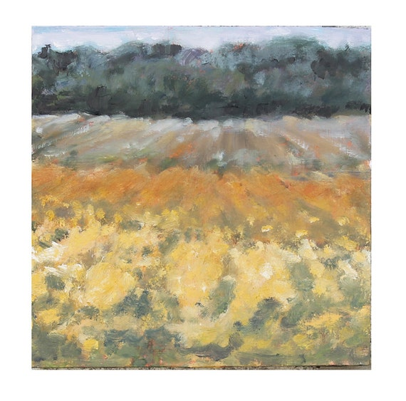 Landscape Painting Autumn Field and treeline, Small Original Oil on wood panel 8x8 inches Canada