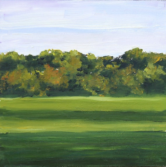 Green Landscape Painting Original oil on wood panel 10x10 inch Canadian Fine Art Trees Fields