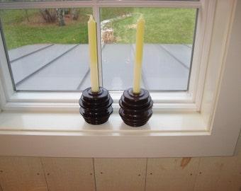 Vintage Industrial Ceramic Insulators Repurposed as Candleholders - Primitive